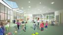 Zo zal het nieuwe wijkschooltje in de wijk Buerstede eruit zien. Dit is de polyvalente zaal.
