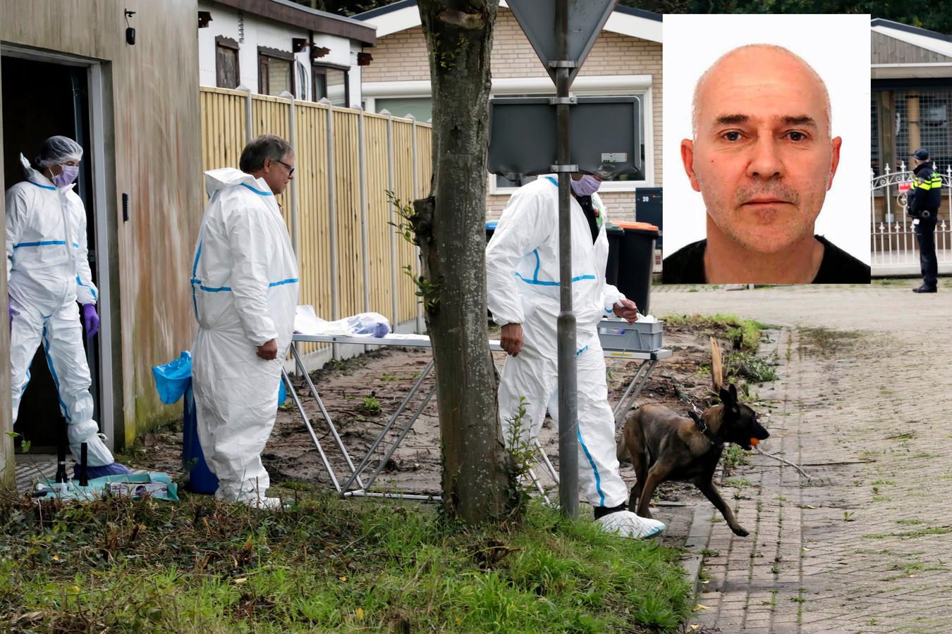 Het politieonderzoek bij de loods op het woonwagencentrum aan de Westlandse Langeweg in Steenbergen. Inzet: Johan van der Heyden.