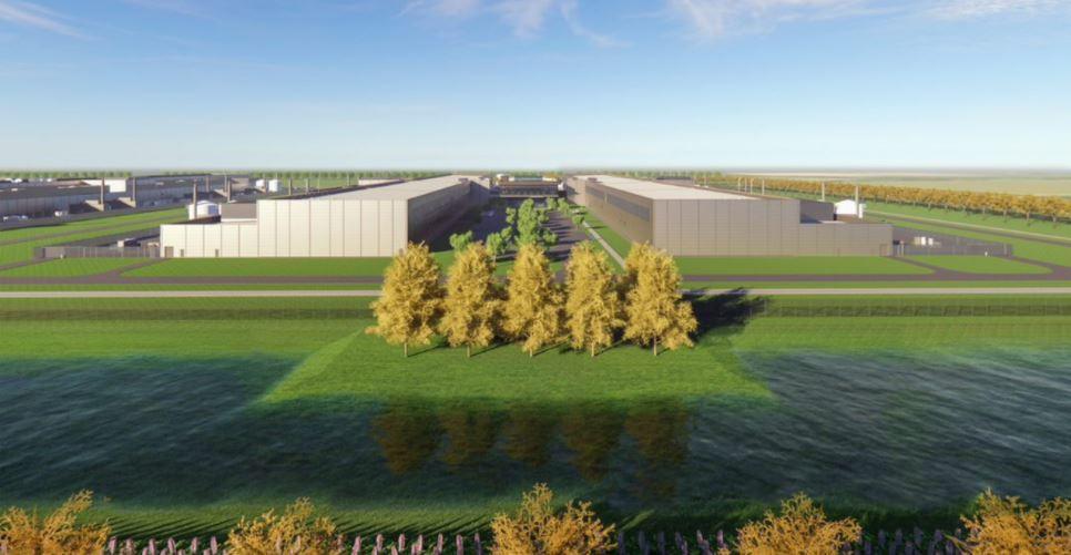 Impressie van het toekomstige datacenter in Zeewolde