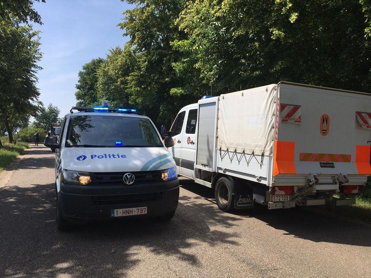 De politie haalde er een ploeg van ontmijningsdienst DOVO bij.