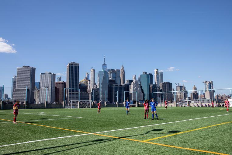 De parel van de stad ligt in het stadsdeel Brooklyn, op een plek genaamd Pier5. Aan de overkant van de East River is downtown Manhattan.  Beeld Jackie Molloy