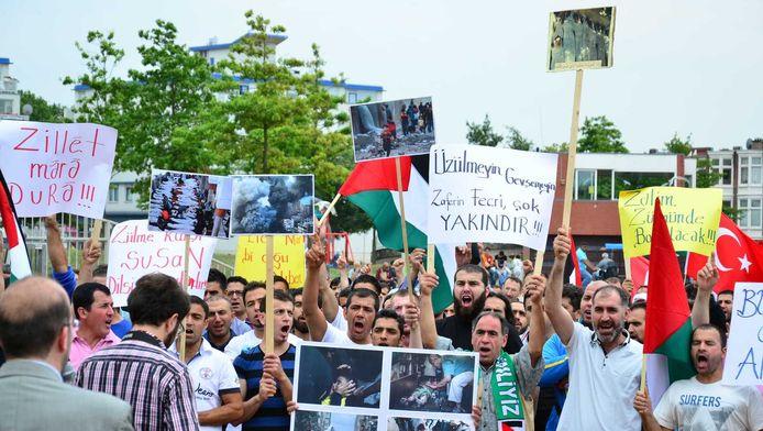 Een pro-Gaza-demonstratie in de Haagse wijk Transvaal in juli.