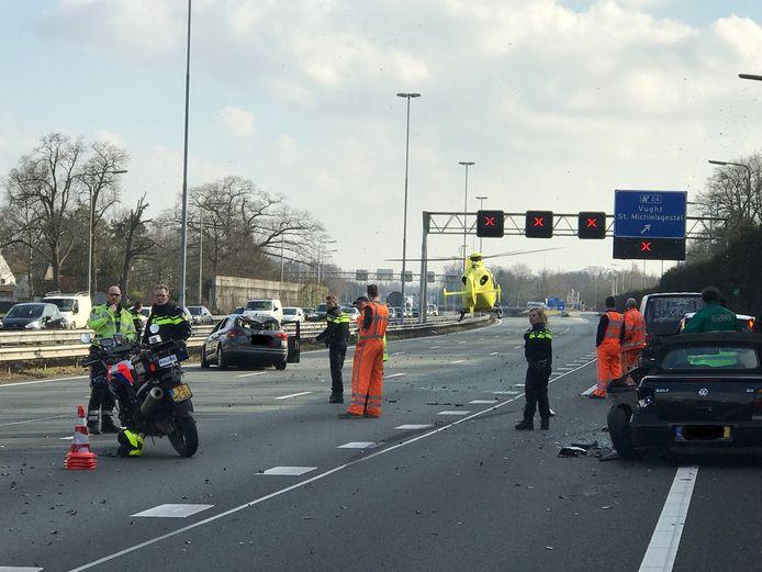 Het ongeluk op de A2 bij Vught.