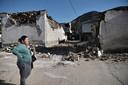 Vernielde huizen in het Griekse dorp Damassi.
