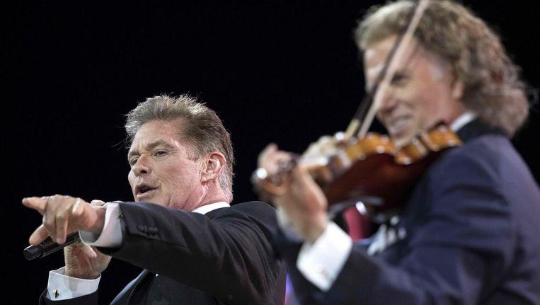 David Hasselhoff en violist en orkestleider André Rieu. Beeld afp