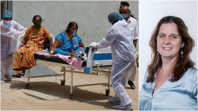 Met twee patiënten in één bed, met steeds schaarsere zuurstof: voor veel coronapatiënten in India zit zelfs dat er momenteel niet in.