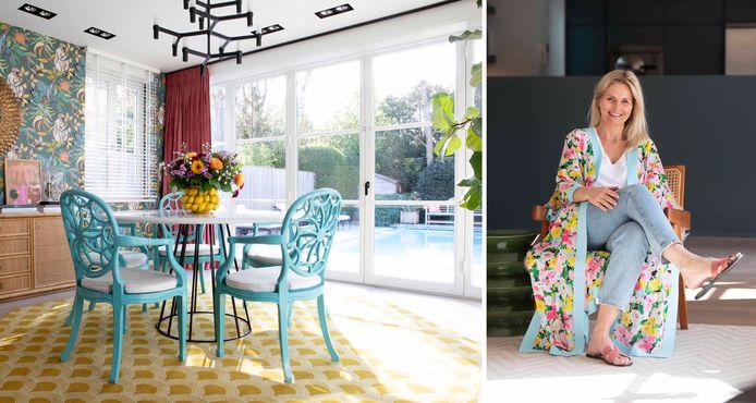 Nathalie Bakker kleedde haar klassieke villa in Edegem aan met een mix van kleuren en patronen.