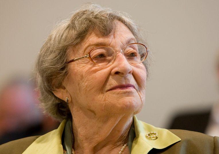 Portret van Selma Engel-Wijnberg. Engel-Wijnberg was de laatste nog levende Nederlander die de verschrikkingen in het Poolse vernietigingskamp Sobibor heeft overleefd. Beeld ANP