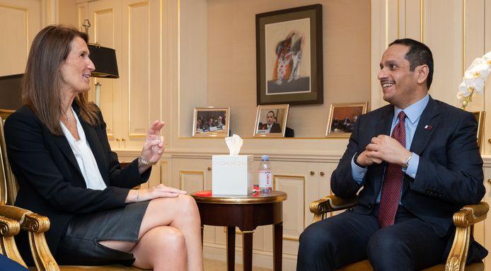 Sophie Wilmes, ministre des Affaires étrangères, rencontre le Cheikh Mohammed bin Abdulrahman bin Jassim Al Thani, ministre des Affaires étrangères du Qatar, lors d'une réunion bilatérale, en marge de la 76e session de l'Assemblée générale des Nations unies (AGNU 76), à New York