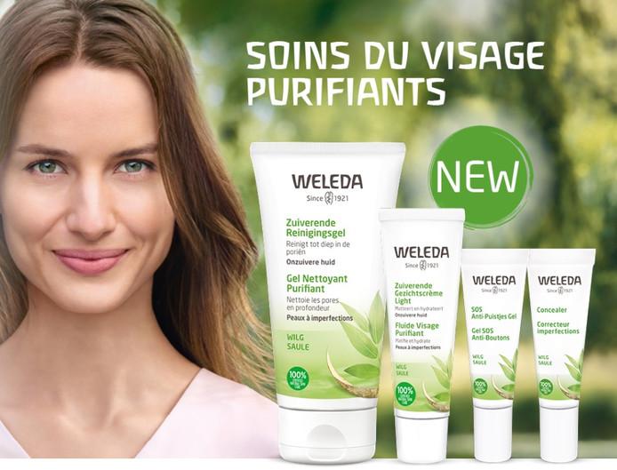 La gamme de soins du visage purifiants.