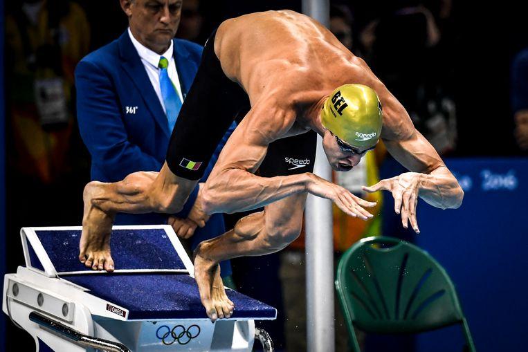 Pieter Timmers duikt naar zilver op de Spelen van 2016 in Rio de Janeiro. Doorgaan tot 2021 ziet hij niet zitten. Beeld BELGA