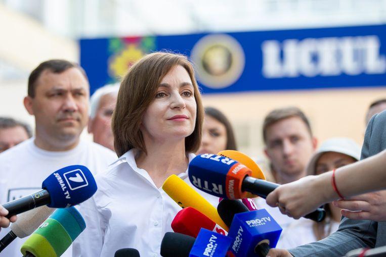 Maia Sandu, de eerste vrouwelijke president ooit van Moldavië.  Beeld EPA