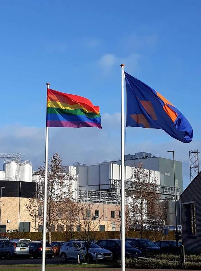 Bij de gemeente Berkelland wappert de regenboogvlag als protest tegen de Nashville-verklaring