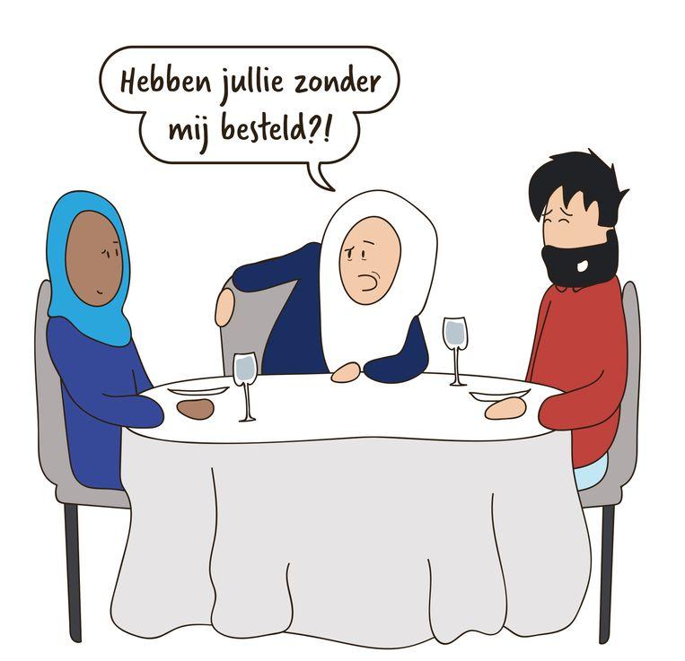 Uit 'Dat kunnen we regelen'. Fahmy over de Nieuwsgierige Moeders: 'Ze zijn soms overheersend, zeker als je meerderjarig wordt.' Beeld RV