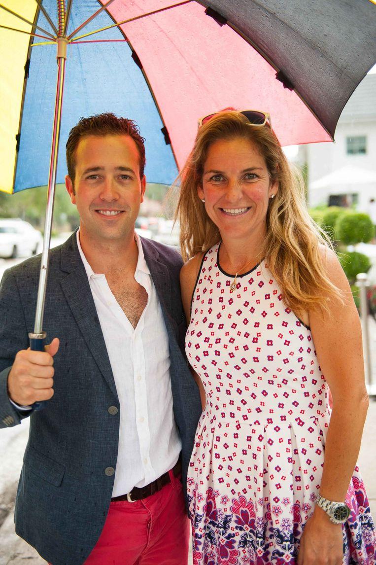 Aranxta Sanchez Vicario met haar man Jose Santacana vorig jaar tijdens een event van David Beckham in Miami. Beeld PHOTO_NEWS