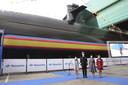 Koning Felipe nam donderdag zijn echtgenote Letizia en dochters Leonor en Sofía mee naar de tewaterlating van de nieuwe S-81 onderzeeër Isaac Peral.
