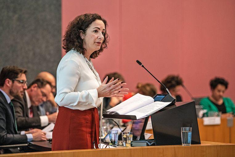 Burgemeester Femke Halsema in de Amsterdamse gemeenteraad. Beeld Guus Dubbelman - de Volkskrant