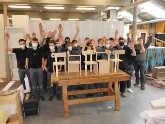 Leerlingen campus Engineering Veurne op het hoogste schavotje op West-Vlaamse houtproef