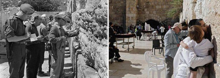 Links de Westmuur (Klaagmuur) in Jeruzalem tijdens de Zesdaagse Oorlog (1967) en rechts anno 2017. Beeld afp