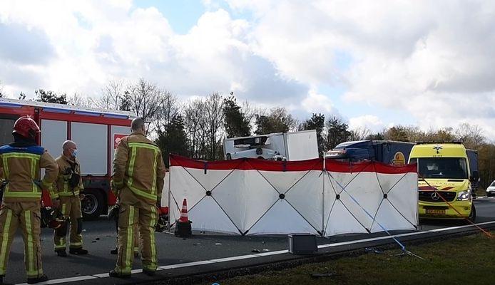 De plek van het ongeval op de A67 bij Eersel.