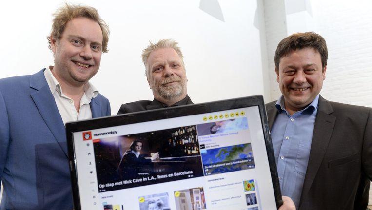 Wouter Verschelden met Mick Van Loon en Patrick Van Waeyenberge, bij de start van Newsmonkey.