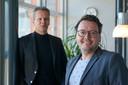 Onderwijsbestuurders Jack Daalmans en Archel Kerkhof (r) op het kantoor van de Filios scholengroep in Geffen.