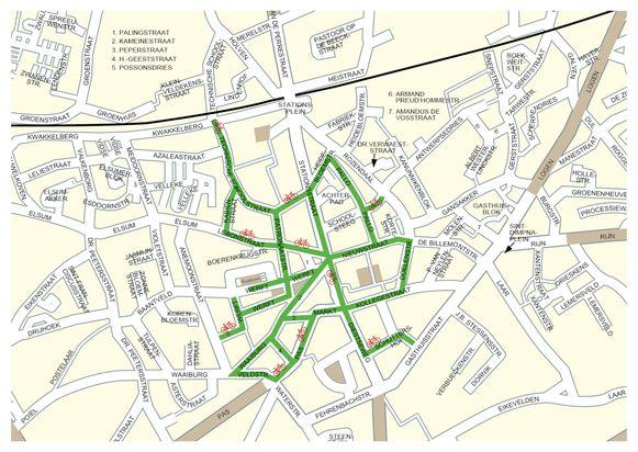 De straten aangeduid in het groen zullen vanaf 15 juni een fietsstraat worden.