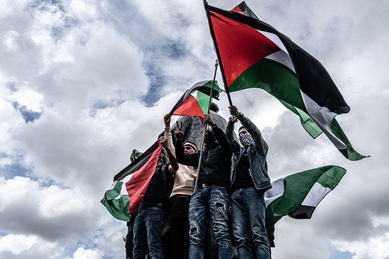 In de gemeenteraad van Amsterdam zijn kritische vragen gesteld over de demonstratie in de stad waar werd  geprotesteerd tegen de Israëlische bommen op Gaza. Geen enkele progressieve partij tekende mee. Beeld Joris van Gennip