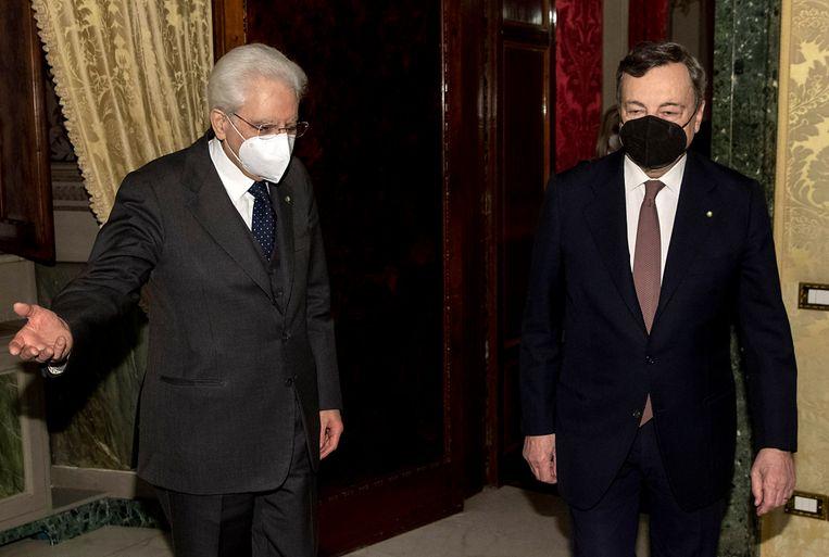 President Sergio Mattarella welcomes Prime Minister-designate Mario Draghi Beeld EPA
