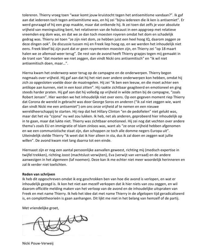 De brief van Nicki Pouw-Verweij, senator en nummer drie op de kandidatenlijst van Forum voor Democratie.