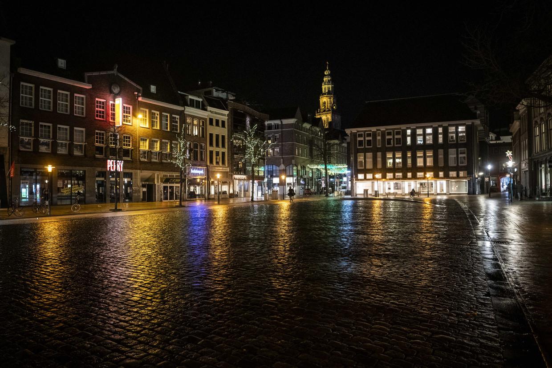 Een lege Vismarkt in het centrum van Groningen. Beeld ANP