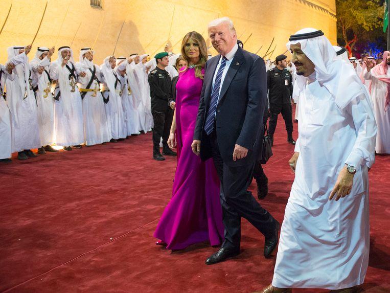 Donald en Melania Trump in het Murabba-paleis in Saudi-Arabië.  Beeld AFP