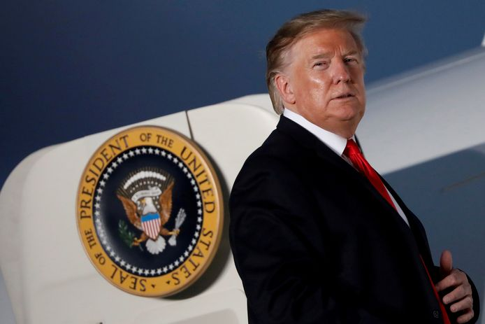 "Le président Donald Trump, avant d'embarquer dans l'Air Force One, dans le cadre de la campagne ""Trump 2020"""