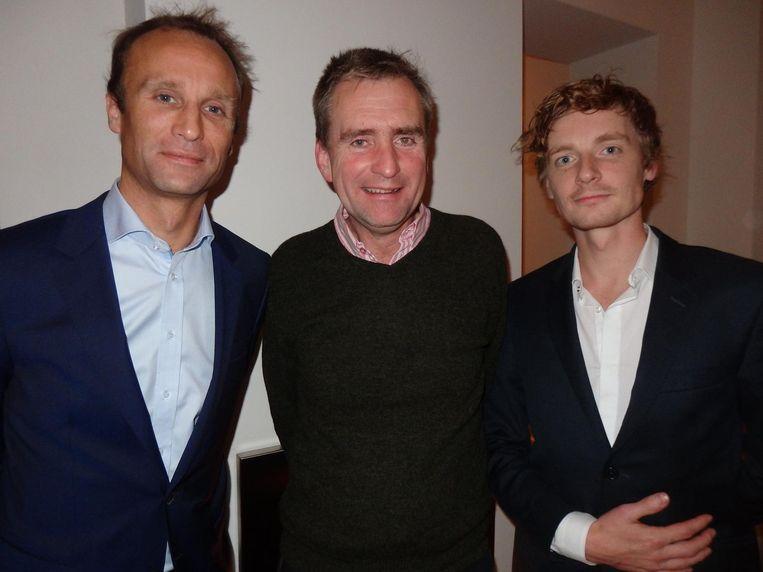 Presentator Martijn de Greve, Melle Daamen, directeur Theater Rotterdam, even terug in zijn geliefde Amsterdam, en Maarten Bul (Novel) Beeld Schuim