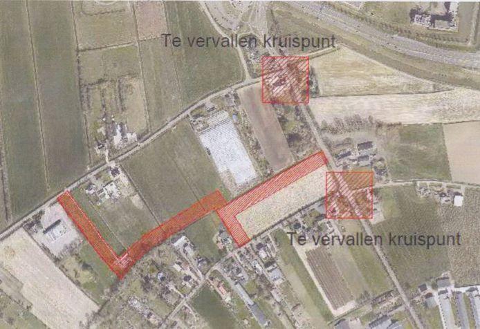 Een schets van de mogelijk nieuwe ontsluitingsweg van Bruchem.