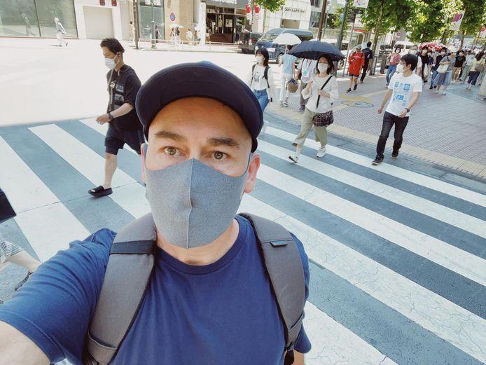 """In Tokio draagt iedereen overal een mondmasker. Utrechter Dustin Heerkens: ,,De Japanners zijn meer met corona bezig dan met de Spelen."""""""