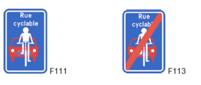 """Le statut sera matérialisé par le placement de signaux F111 et F113 portant la mention """"rue cyclable""""."""