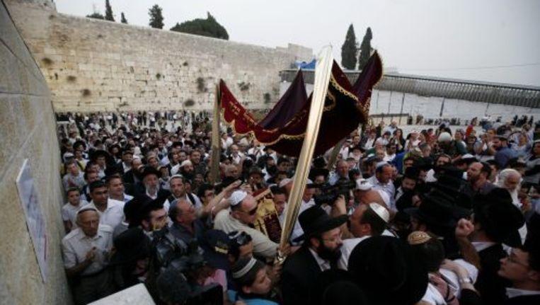 Orthodoxe joden vieren de heropening van de Hurva-synagoge. ANP Beeld