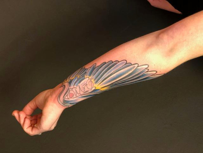 De uiteindelijke nieuwe tatoeage van Patricia, bedacht door Daniëlle