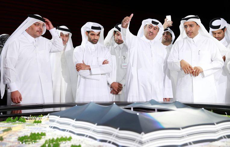 De presentatie van het Al-Khor-stadion in Qatar, bij het begin van de bouw in 2014.  Beeld Reuters
