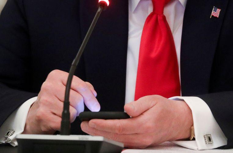 Oud-president Trump is voorlopig nog van Facebook geweerd. Beeld Reuters