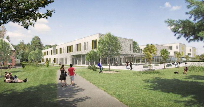 Een zicht op het nieuwe woonzorgcentrum.