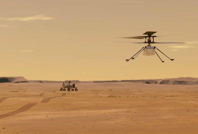 Illustration de l'hélicoptère Ingenuity détaché du rover martien Persévérance de la NASA.