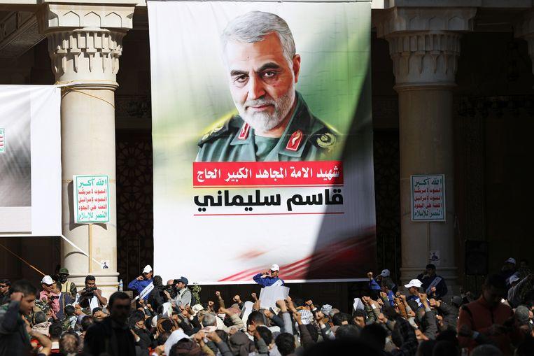 Een herdenking van het overlijden van generaal Soleimani, zondag een jaar geleden. Beeld Reuters