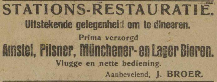 Advertentie van de stationsrestauratie uit 1922