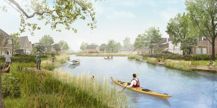 Een impressie van de toekomstige woonwijk Akkerlanen.