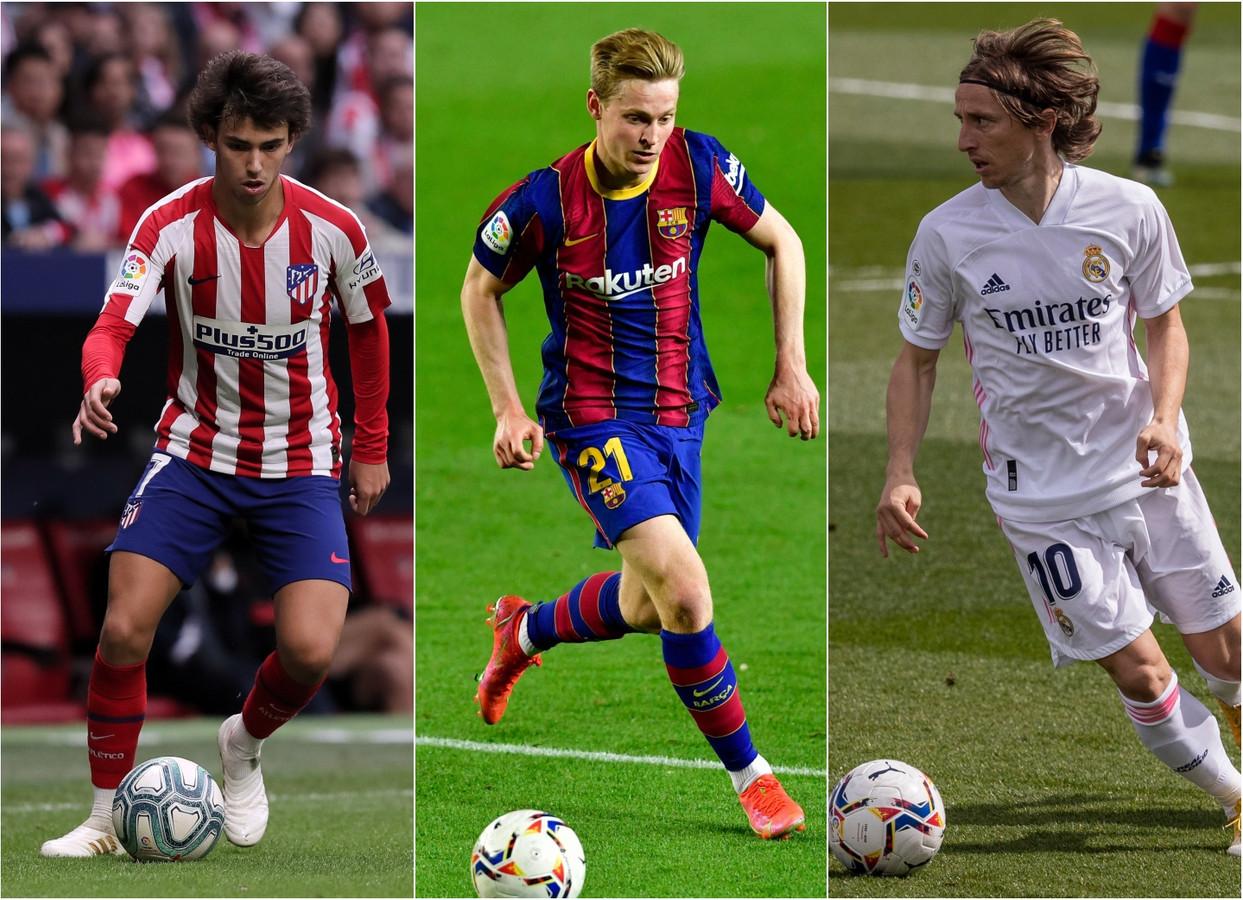 Joao Felix, Frenkie de Jong en Luca Modric.