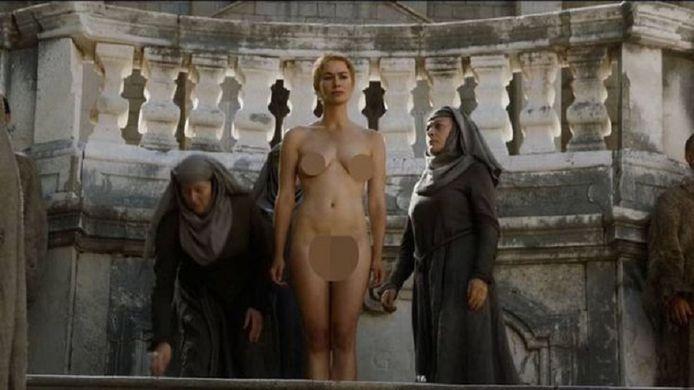 Cersei Lannister uit 'Game of Thrones' moest op haar beurt een walk of shame doen.