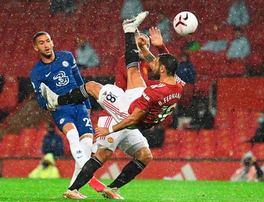 Bruno Fernandes met een omhaal tegen Chelsea begin dit seizoen.