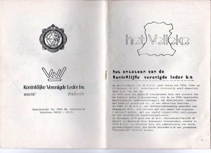 Het Velleke was ook de naam van het personeelsblad van KVL